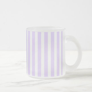 Wisteria Lilac Lavender Orchid & White Stripe Frosted Glass Mug