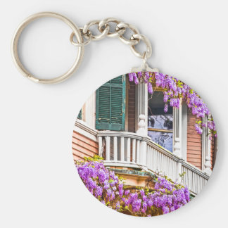 Wisteria on a Vintage Southern  Home in Savannah Key Ring