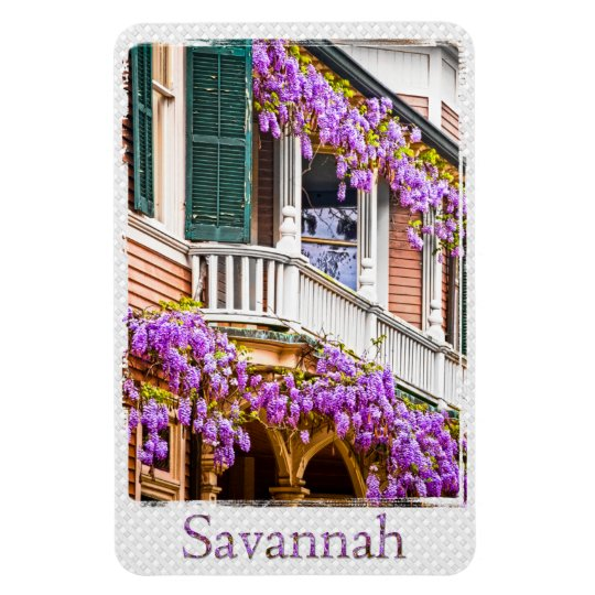 Wisteria on a Vintage Southern  Home in Savannah Rectangular Photo Magnet