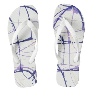 Wisteria Purple Paint Splatter Flip Flops