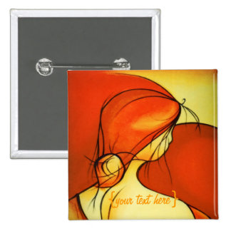 Wistful Lady In Orange 15 Cm Square Badge