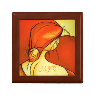 Wistful Lady In Orange Gift Box