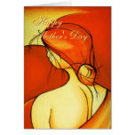 Wistful Mothers Day Lady in Orange Greeting Card