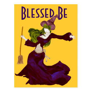 Wistful Witch Blessed Be Halloween Postcards