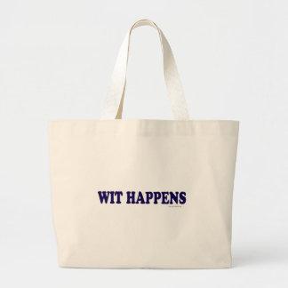 Wit Happens Large Tote Bag