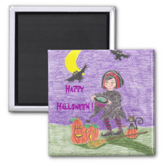Witch 3, Happy Halloween ! Square Magnet