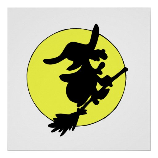 Witch across moon laughing print