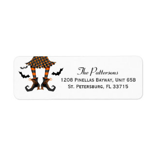 Witch and Bats Whimsical Halloween Return Address Label