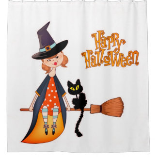Witch And Black Cat Happy Halloween Shower Curtain