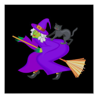 Witch and black cat on broom print
