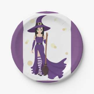 Witch And Broom Paper Plates