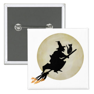 Witch and Cat 15 Cm Square Badge