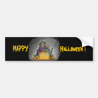 Witch and cat, Happy Halloween! Car Bumper Sticker