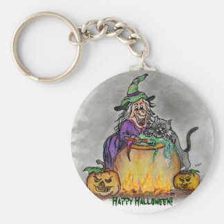 Witch and cat, Happy Halloween! Keychains