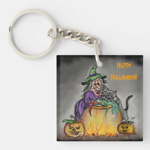 Witch and cat, Happy Halloween! Square Acrylic Key Chains