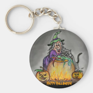 Witch and cat Happy Halloween Keychain