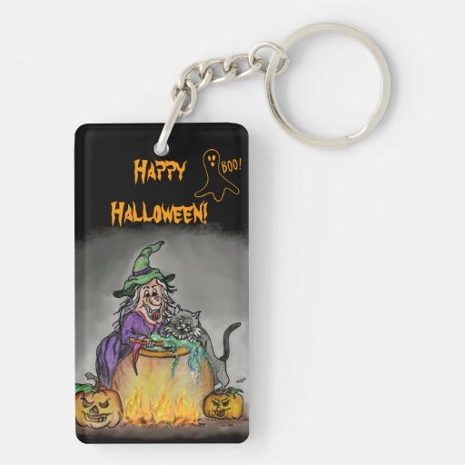 Witch and cat, Happy Halloween! Rectangular Acrylic Key Chains