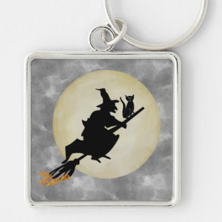 Witch and Cat Key Ring