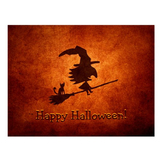 Witch and Cat Silhouette Flying on Broomstick Postcard