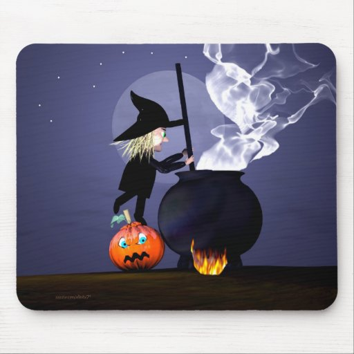 Witch and Cauldron Mouse Pad