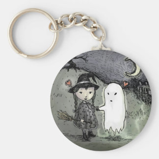 Witch and Ghost in Love Key Ring