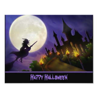Witch and Haunted House Halloween Invitation