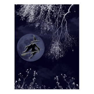 Witch and Moon at Night Postcard