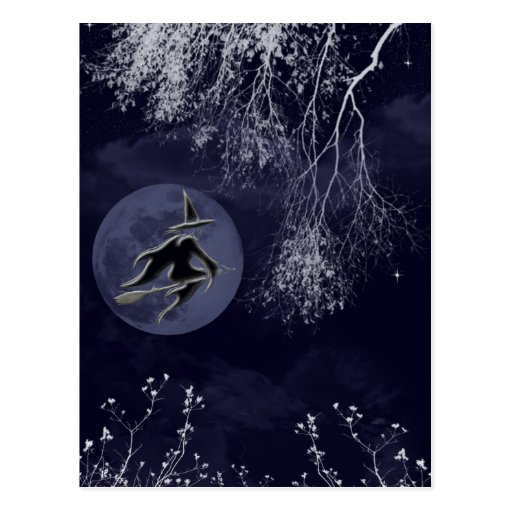 Witch and Moon at Night Post Cards