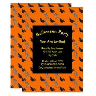 Witch and Mummy Pattern Halloween Invitation
