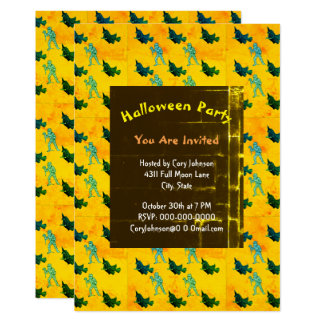 Witch and Mummy Pattern Halloween Retro Invitation