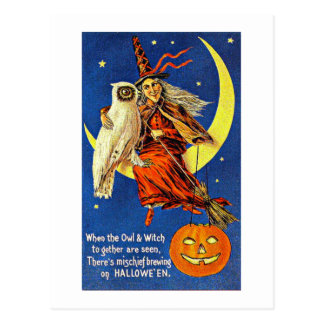 Witch and Owl on the Moon Vintage Halloween Postcard