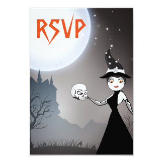 Witch and Skull Couple Wedding RSVP Cards 9 Cm X 13 Cm Invitation Card