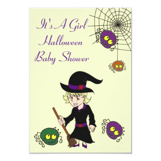Witch and Spider Baby Shower Invitation Cards