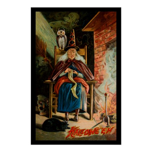 Witch at Fireplace Poster