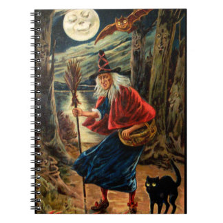 Witch at Halloween Night Spiral Notebook