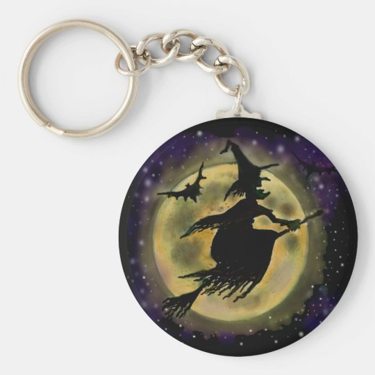 Witch Basic Round Button Key Ring