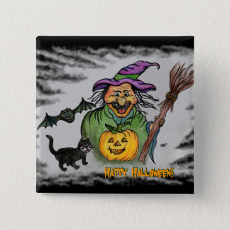 Witch, Bat and Cat, Happy Halloween! 15 Cm Square Badge