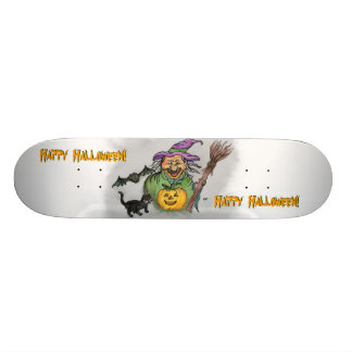 Witch Bat and Cat Happy Halloween Skateboards