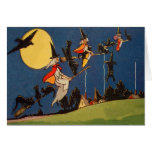 Witch Black Cat Flying Moon Crow Greeting Card
