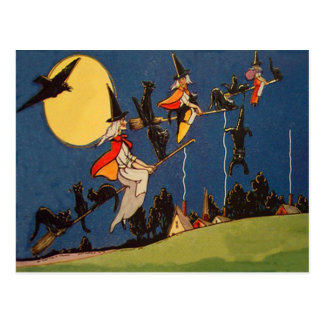 Witch Black Cat Flying Moon Crow Postcard