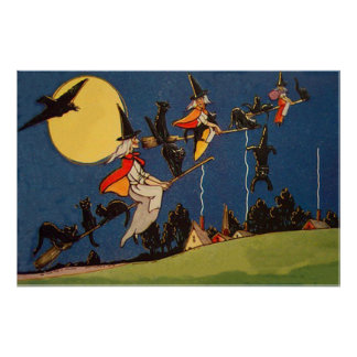 Witch Black Cat Flying Moon Crow Poster