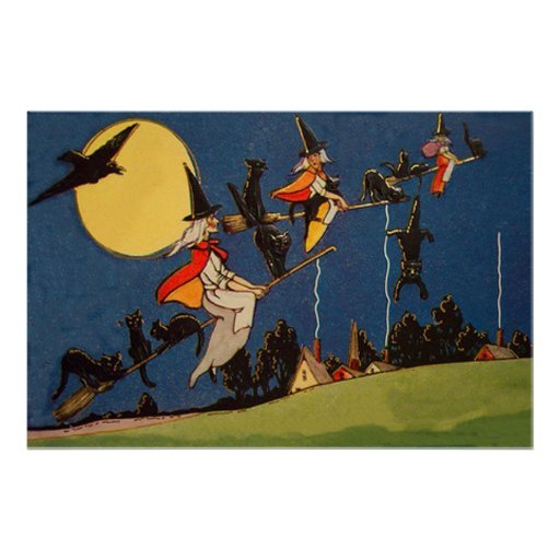 Witch Black Cat Flying Moon Crow Print