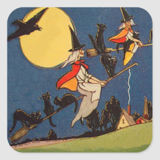 Witch Black Cat Flying Moon Crow Square Sticker