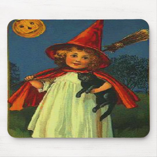 Witch & Black Cat Mouse Pad