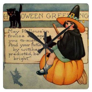 Witch Black Cat Pumpkin Crescent Moon Square Wall Clock