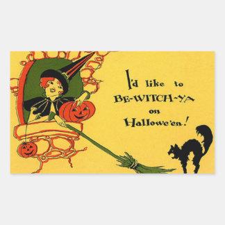 Witch Black Cat Pumpkin Vintage Halloween Rectangular Sticker