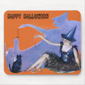 Witch Black Cat Spider Shadow Mouse Mat