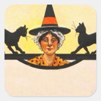 Witch Black Cat Vintage Halloween Stickers