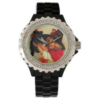 Witch & Black Cat Vintage Halloween Watch