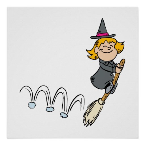 Witch bouncing with broom posters